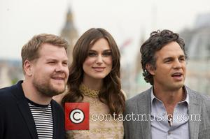 James Corden, Keira Knightley and Mark Ruffalo - 'Begin Again' photocall held at St Vincent House - London, United Kingdom...