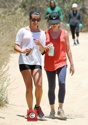 Lea Michele and Aubrey Dollar - Lea Michele is all smiles while going for a hike through the hills in...