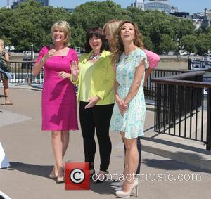 Loose Women, Coleen Nolan, Myleene Klass and Ruth Langsford - Loose Women filming a segment on the Southbank - London,...