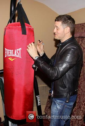 Michael Buble - Backstage at the Broadway musical Rocky at the Winter Garden Theatre. - New York, New York, United...