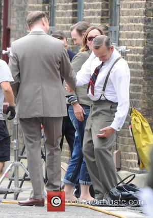 David Thewlis and Christopher Eccleston - Tom Hardy seen filming in London on the movie set of Legend, about The...
