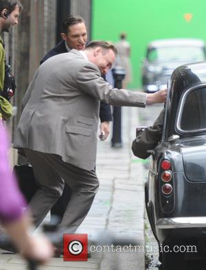 David Thewlis - Tom Hardy seen filming in London on the movie set of Legend, about The Kray twins. -...