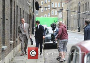 David Thewlis and Tom Hardy - Tom Hardy seen filming in London on the movie set of Legend, about The...