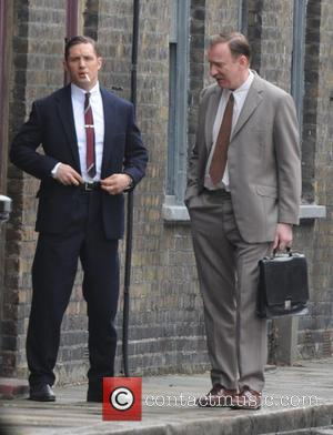 David Thewlis and Tom Hardy - Christopher Eccleston, Tom Hardy and David Thewlis filming on the set of 'Legend' in...