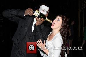 Norm Lewis and Sierra Boggess - Broadway's Phantom of the Opera celebrates their 11,000th performance at the Majestic Theatre -...