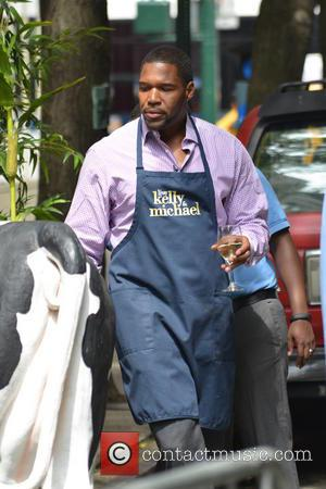 Michael Strahan - Kelly Ripa and Michael Strahan filming 'Live! with Kelly and Michael' - New York City, New York,...