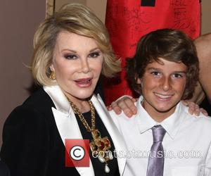Joan Rivers and Cooper Endicott - Backstage at the Broadway musical Rocky at the Winter Garden Theatre. - New York,...