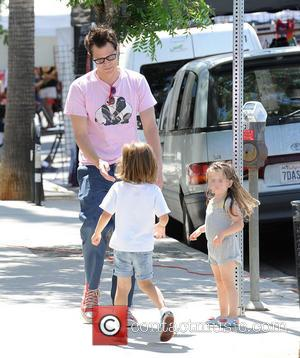 Johnny Knoxville, Arlo Clapp and Rocko Clapp - Johnny Knoxville spends time at the Farmers Market with his children -...