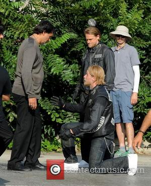 Charlie Hunnam and Jimmy Smits - Charlie Hunnam films an action scene where he is involved in a fight while...