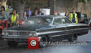 Tom Hardy - Tom Hardy films scenes for his new film 'Legend' on the Cedra Court Estate, where the Kray...