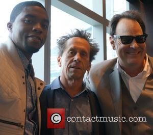 Chadwick Boseman, Brian Grazer and Dan Aykroyd - Celebrities attend a press conference for 'Get On Up' held at The...