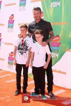 David Beckham and With Sons Romeo James Beckham