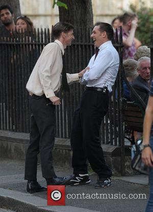 Tom Hardy and Paul Anderson - Tom Hardy shoots scenes for his latest film, 'Legend,' in Hackney. Tom joked around...