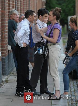 Tom Hardy - Tom Hardy shoots scenes for his latest film, 'Legend,' in Hackney. Tom joked around inbetween takes with...