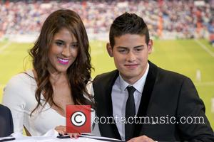 James Rodriguez and Daniela Ospina - James Rodriguez becomes a new player of the Real Madrid team at the Santiago...
