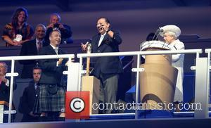 Sir Chris Hoy, HRH Prince Tunku Imran and Queen Elizabeth - The 2014 Glasgow Commonwealth Games - Opening Ceremony at...