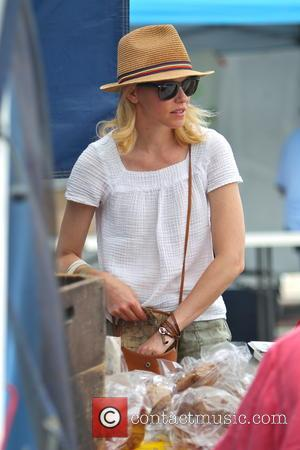 Elizabeth Banks - Elizabeth Banks shopping at the Studio City Farmer's Market wearing a 'Pitch Perfect 2' custom bracelet on...