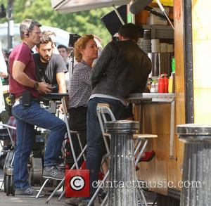 Bradley Cooper and Uma Thurman - Bradley Cooper and Uma Thurman filming scenes for their upcoming movie 'Adam Jones' in...