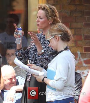 Uma Thurman - Bradley Cooper and Uma Thurman filming scenes for their upcoming movie 'Adam Jones' in Notting Hill -...