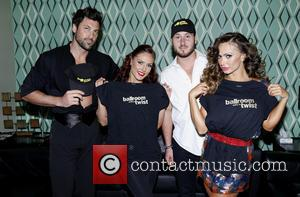 Maksim Chmerkovskiy, Sharna Burgess, Val Chmerkovskiy and Karina Smirnoff - Backstage at Ballroom with a Twist at the NYCB Theatre...