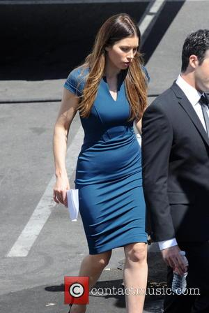 Jessica Biel - Actress Zooey Deschanel and her new co star Jessica Biel spotted on the set of