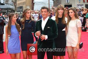 Sylvester Stallone, wife Jennifer Flavin and daughters - 'The Expendables 3' world film premiere held at the Odeon cinema -...
