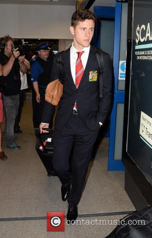 Ander Herrera - Manchester United Players arrive at Manchester Airport while a boax hoax drama was unfolding. - Manchester, United...