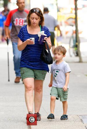 Rachel Dratch and Eli Benjamin Wahl - Rachel Dratch, carrying a Starbucks iced coffee, spotted with her son Eli Benjamin...