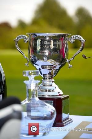 Ian Halliwell Trophy - Celebrities and professionals attending the Farmfoods British Par 3 Championship 2014 - Day 3 - Berkswell,...