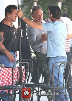 Mickey Rourke - Mickey Rourke has lunch with friends in...