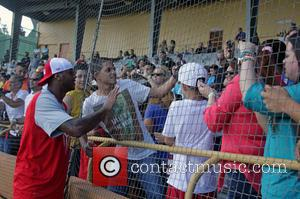 Carmelo Anthony - A Very Melo Weekend charity softball match - Guaynabo, Puerto Rico - Saturday 9th August 2014