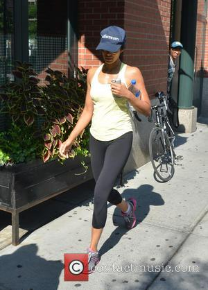 Padma Lakshmi - Cook book author Padma Lakshmi out keeping fit and healthy jogging on the streets of Manhattan -...