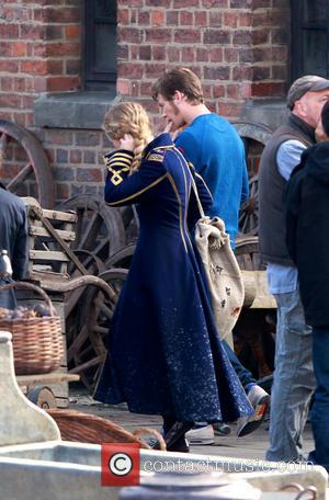 Mia Wasikowska and Ed Speleers - 'Through the Looking Glass' being filmed at Gloucester Docks - Gloucester, United Kingdom -...