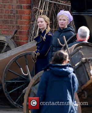 Mia Wasikowska and Lindsay Duncan - 'Through the Looking Glass' being filmed at Gloucester Docks - Gloucester, United Kingdom -...