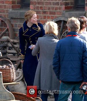 Mia Wasikowska - 'Through the Looking Glass' being filmed at Gloucester Docks - Gloucester, United Kingdom - Monday 18th August...