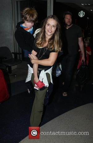 Brooke Mueller, Max Sheen and Bob Sheen - Brooke Mueller and her children at Los Angeles International Airport (LAX) -...