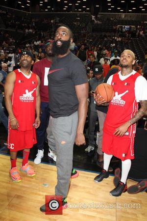 DJ Clue, James Harden and Chris Brown