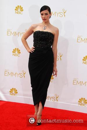 Jessica Pare - 66th Primetime Emmy Awards at Nokia Theatre L.A. Live - Arrivals - Los Angeles, California, United States...