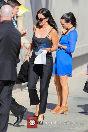 Courteney Cox - Celebrities arrive at the ABC studios for late-night talk show Jimmy Kimmel Live! - Los Angeles, California,...