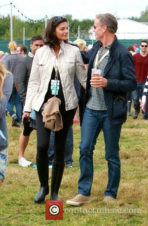 Former British formula 1 star David Coulthard and his wife Karen Minier enjoy the VIP area at the Big Feastival...