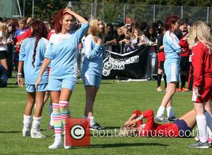 Amy Childs and Rachel Riley - Countdown's Rachel Riley takes a tumble during the Soccer SixFest 2014 event at Mile...