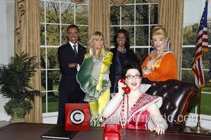 Barack Obama Wax Figure, Judy Mclane, Michelle Obama Wax Figure, Stacia Fernandez and Lauren Cohn
