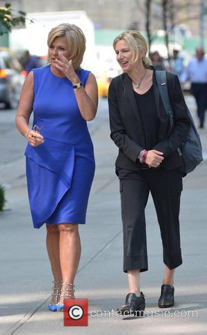 Diane Sawyer - Diane Sawyer conducts an interview while out walking in New York City - New York City, New...