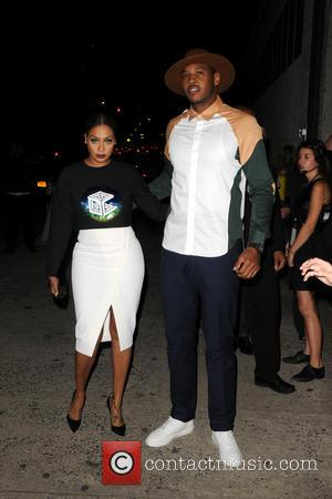 La La Anthony and Carmelo Anthony - Mercedes-Benz New York Fashion Week Spring 2015 - Opening Ceremony - Outside Arrivals...
