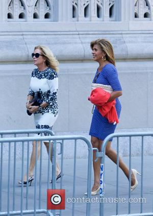 Hoda Kotb and Kathie Lee Gifford - Joan Rivers Memorial Service at Emanu-El Temple in the Upper East side in...