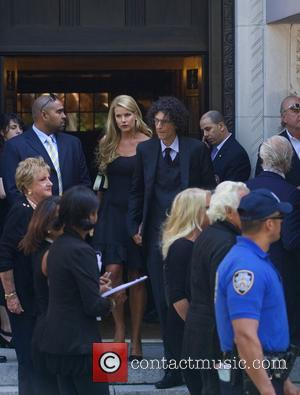 Howard Stern and Beth Ostrosky - Joan Rivers Memorial Service at Emanu-El Temple in the Upper East side in New...