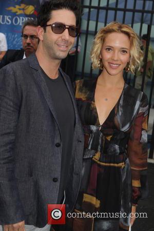 David Schwimmer and wife Zoe Buskman - Celebrities and Players at the Men's Final of the 2014 U.S. Open. Marin...