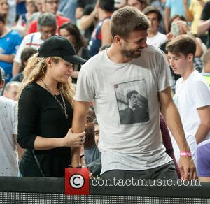 Shakira and Gerard Pique - Shakira and Gerard Pique attend the USA v Slovenia game at the Basketball World Cup...