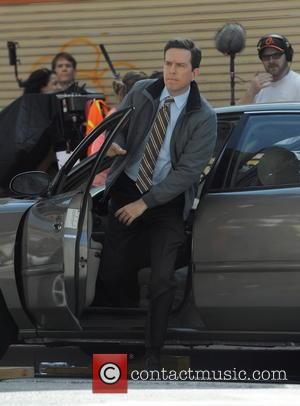 Ed Helms - Andy Samberg filming 'Brooklyn Nine Nine' with new in Downtown Los Angeles - Los Angeles, California, United...