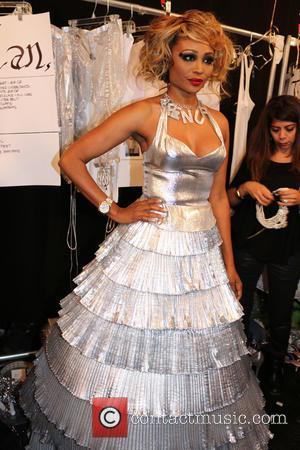 Cynthia Bailey - Mercedes-Benz New York Fashion Week Spring 2015 - Betsey Johnson - Backstage - New York, New York,...